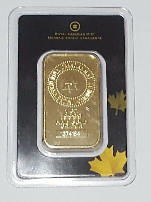 Lingotto oro 999.9 1 oncia Royal Canadian Mint. GOLD BAR 1 TROY OZ 24KT