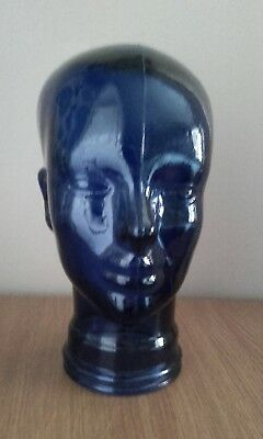 Vintage Colbalt Blue Glass Display Head
