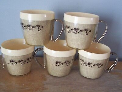 5 Insulated Mid-Century Burlap H.f.c. Coffee Mugs - Steel Handles -  Palm Trees