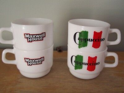 Set Of 4 Arcopal Restaurant France Maxwell House Small Cappuccino Mugs
