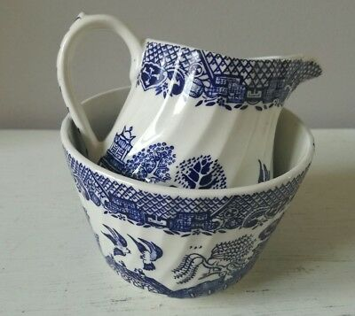 Willow pattern milk jug and sugar bowl set by Barratts England blue and white