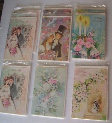 Lot Of 9 Vintage Wedding Gift Greeting Cards - Unused With Envelopes In Plastic
