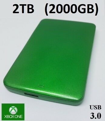 Xbox One External Hard Drive 2TB (2000GB) - Custom Green - Plug & Play