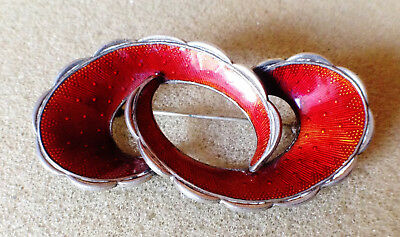 Solid Silver and red Guilloche enamel brooch from Norway