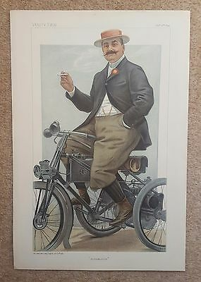 VANITY FAIR PRINTS and SPY CARTOONS , autos and motoring, an early print in 1899
