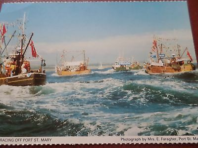 Postcard Trawler Racing Off Port St. Mary Isle of Man