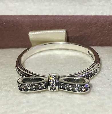 Pandora Delicate Bow Ring 190906Cz, S925 Ale, Size 54 Sterling Silver With Pouch