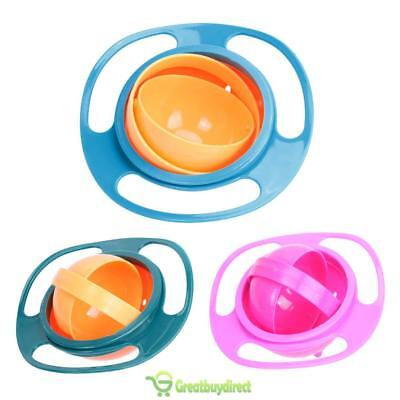 Baby 360 Rotation Food Spill Proof Gyro Bowl Dishes Feeding Toddler Toy UK