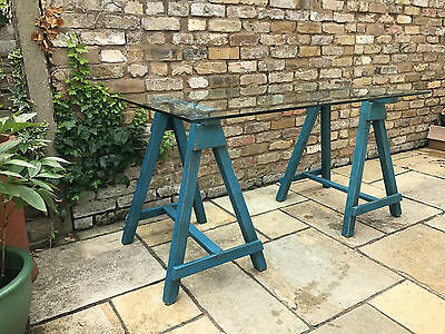 Vintage Desk With Painted Trestle Legs And Glass Top Industrial Table Antique