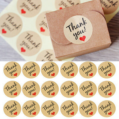 "60Pcs ""Thank You"" Adhesive Kraft Sticker Label Seal Envelopes Gift Box Bag Decor"