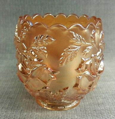 Carnival Glass By Dugan Amber Art Vase Wreath of Roses