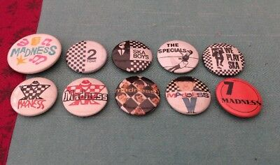 Rare Vintage Collection 10 Different Two Tone SKA Madness Music Pin Badges