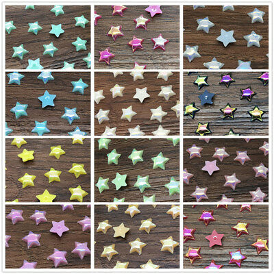 NEW DIY 6mm 10mm Star Flat back smooth Resin Scrapbooking Craft Pick 13 Colour