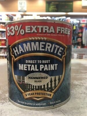 Hammerite 750ml Metal Paint - Hammered Silver 33% Free = 1 Litre