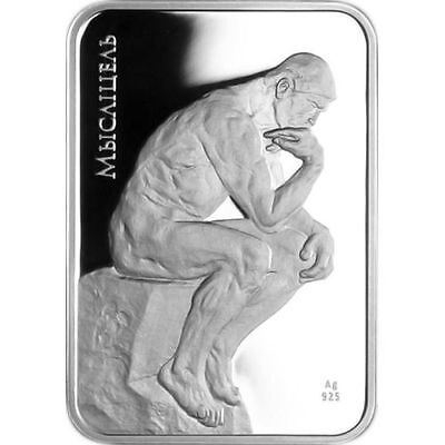 Belarus 2010 Thinker World of sculptures  20 rubles Proof Silver Coin