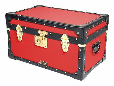 RED Traditional British Mossman Made Boarding School Tuck Box Storage Trunk