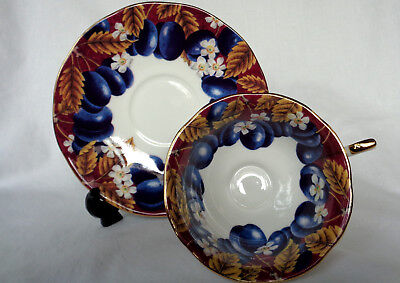 """QUEENS CHINA/ CHURCHILL. authentic """"HOOKERS FRUIT"""" Victoria Plums Cup & Saucer !"""