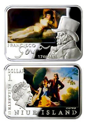 Niue 2010 1$ - FRANCISCO GOYA - Painters of the World - Silver Proof Coin