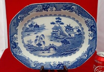 "AF Chinese Antique 19thC/18thC 13.75"" Kangxi Large Meat Plate A/F"