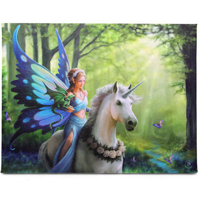"""Anne Stokes  """"Realm Of Enchantment""""  Fantasy Canvas Wall plaque 26x19cms Approx."""