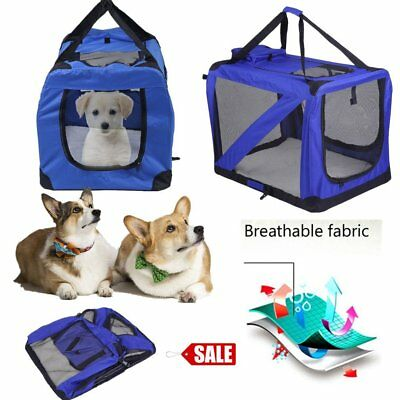 S/m/l/xl Blue Dog Cat Fabric Portable Carrier Folding Crate Cage Pet Travel Bag