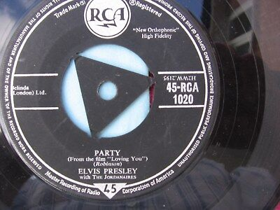 "Elvis Presley  "" Party ""  7"" 45 vinyl  record Issued 1957- TRI"