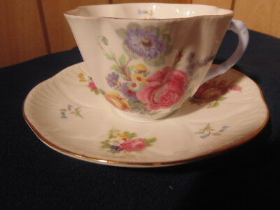 Shelley Cup And Saucer,pink Cabbage Rose