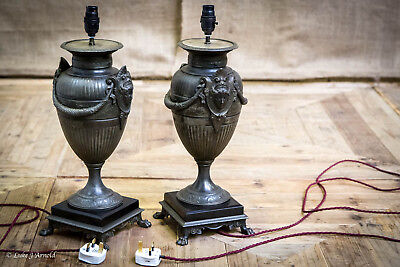 Pair of Early 20th Century Country House Bronze Spelter Table Lamps