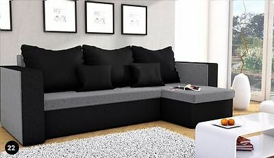New Corner Sofa Bed MOJITO with Storage in GREY & BLACK,  FREE DELIVERY