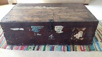 Vintage Wooden Chest, Wooden Coffee Table, Old Style Travel Trunk, Antique