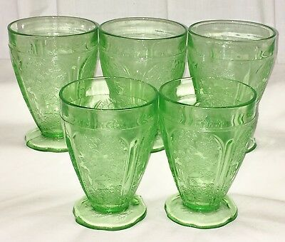 """2 Jeannette CHERRY BLOSSOM GREEN *4 1/4"""" 8 oz TUMBLERS w/ SCALLOPED FOOT*"""