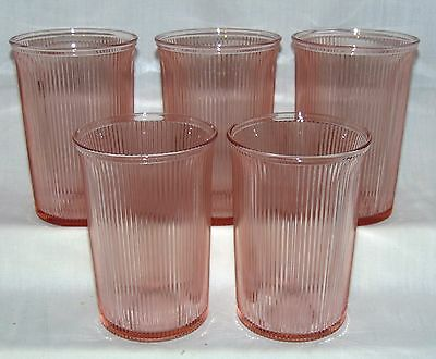"5 Jeannette HOMESPUN PINK *4 1/8"" FLARED WATER TUMBLERS w/PLAIN BOTTOM*"