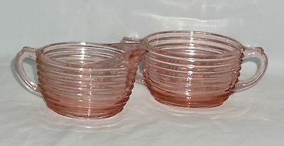 Anchor Hocking MANHATTAN PINK *OVAL CREAMER & SUGAR* SET 2*