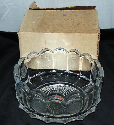 """Fostoria CRYSTAL FROSTED COIN *8"""" ROUND BOWL w/STICKER & BOX*"""