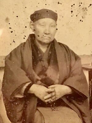 Rare Antique Ambrotype Photo Of Asian Monk With Prayer Beads Chinese Or Japanese