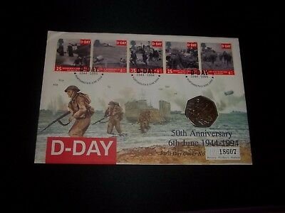 1994 D-Day Mercury Coin Cover First Day Cover - 50Th Ann Of D-Day, Portsmith