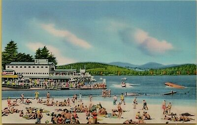 Weirs Beach Scene On Lake Winnipesaukee Sunbathers New Hampshire Nh Postcard A16