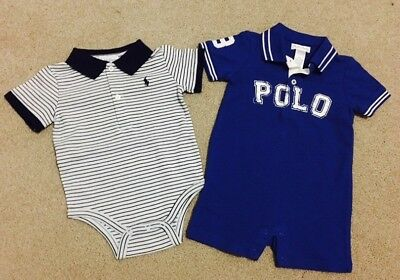 *CLEARANCE*Set Of 2 NEW Ralph Lauren POLO Rompers suit Romper Size 9 Months Boys