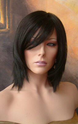 Angel Fully hand tied Part Mid Length Razor Cut Face Framing Wig Nearly Black