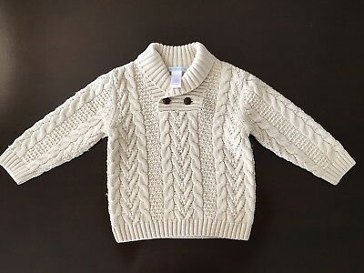 Janie and Jack Cable Knit Shawl Neck Sweater Cream Infant Boy Size 18-24 mo