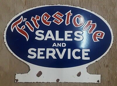 "Porcelain FIRESTONE TIRES  Sign SIZE 25"" X 18""  INCHES"
