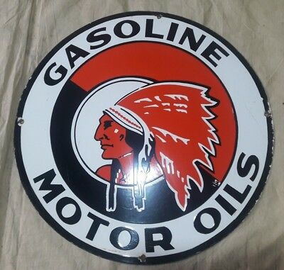 "Porcelain RED INDIA GASOLINE  Sign SIZE 24"" ROUND"