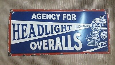 "Porcelain HEADLIGHTS OVERALLS  Sign SIZE 24"" X 11"" INCHES"