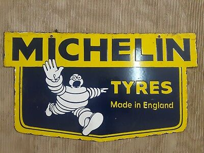 "Porcelain MICHELIN TYRES Sign SIZE  17"" X 30"" INCHES  2 SIDED"