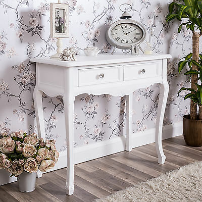 White Dressing Console Table Shabby Vintage French Chic Bedroom Furniture Home