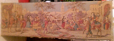 Vintage Woven Jacquard Tapestry Of Spanish Dancers & Village  Very Long