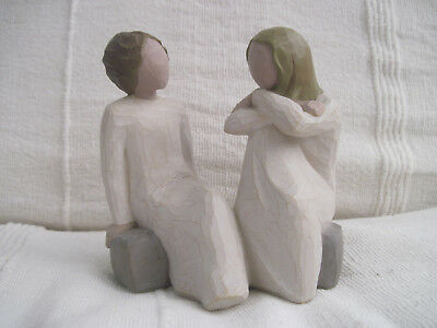 Willow Tree Figurines Sitting On A Stone Chatting.called ' Heart And Soul'.