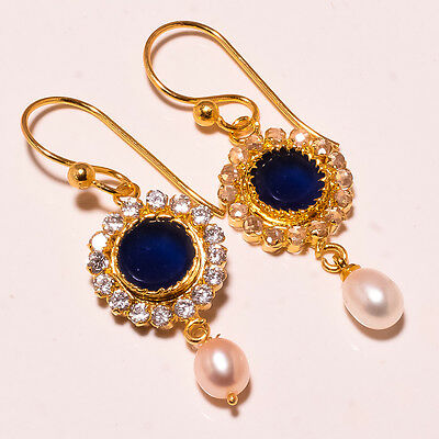 Pearl With Blue Sapphire Gemstone 18Kt Gold Platedsilver Earring 1.9""