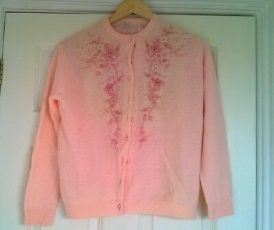 1950/60's ladies pink embroidered lined cardigan- pearl style buttons