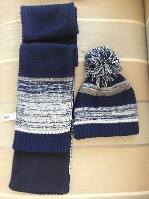Nut Meg - Blue Mix Hat and Scarf Set - Age 7-10 years
